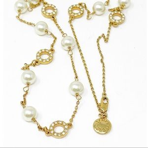 J. Crew Gold Tone Faux Pearl Crystal Necklace